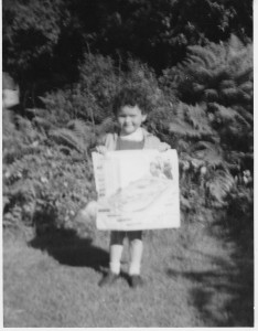 Me aged 3 with Hornby Trains poster